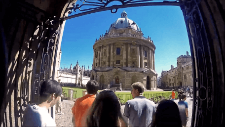 Students walking towards the Radcliffe Camera